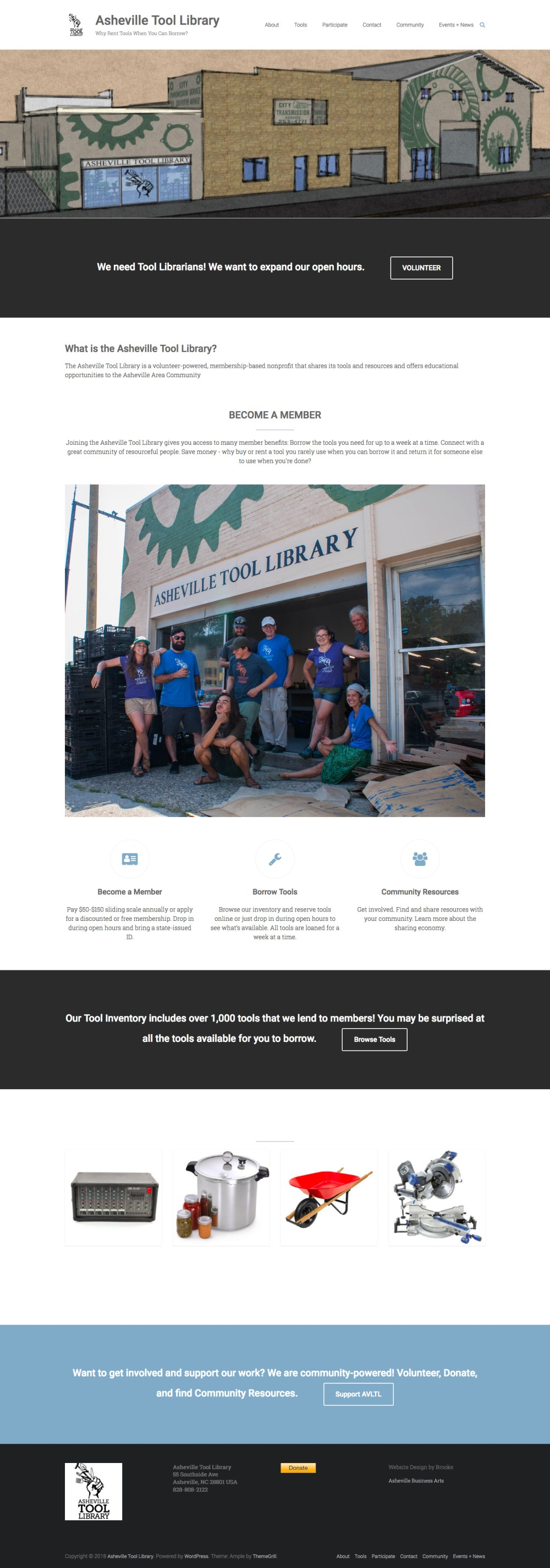Asheville Tool Library website redesign by Asheville Business Arts